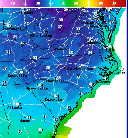 NWS Projected Lows Saturday Night