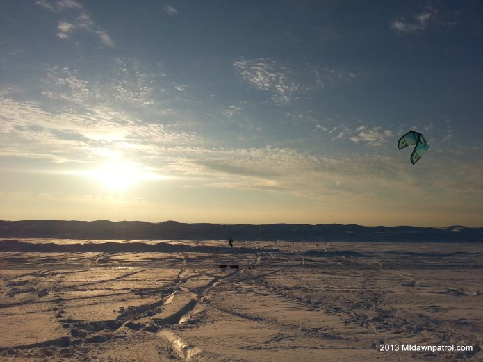 Snowkiting towards the Lake Michigan Icebergs