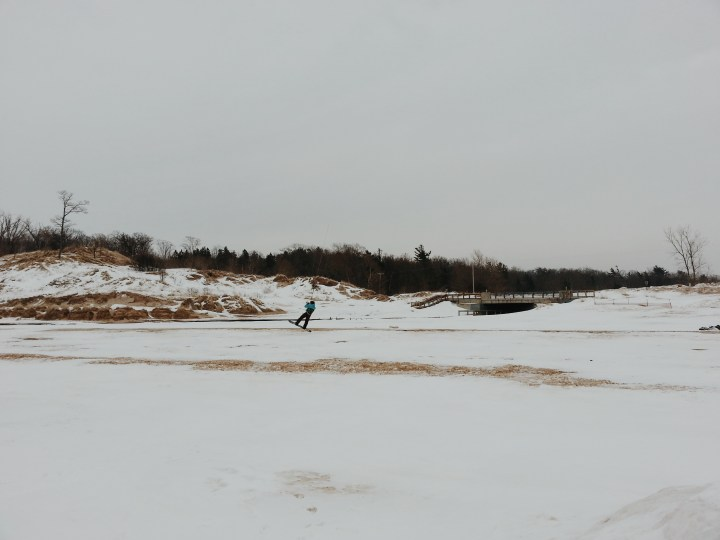 There was a few inches of snow on the ground and small patches of sandy areas.
