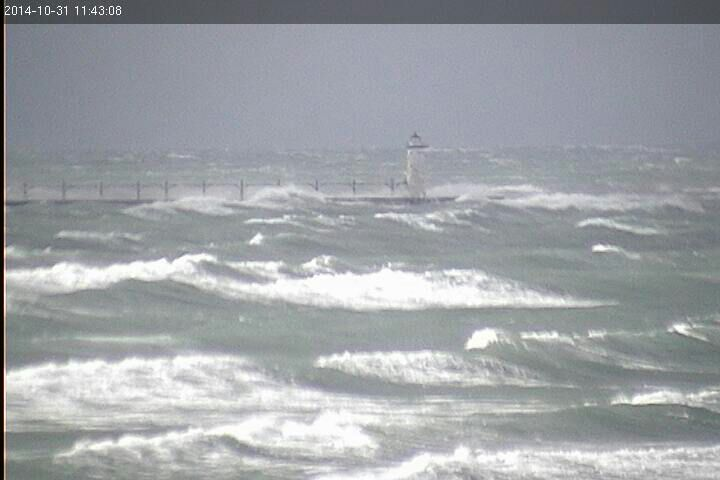 50 knot north winds in Manistee today