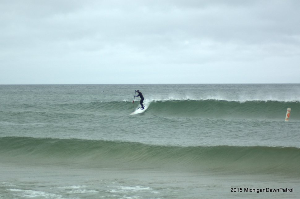 A north wind day this past spring. Side off in Grand Haven. Some of the nicest waves I've SUP'D