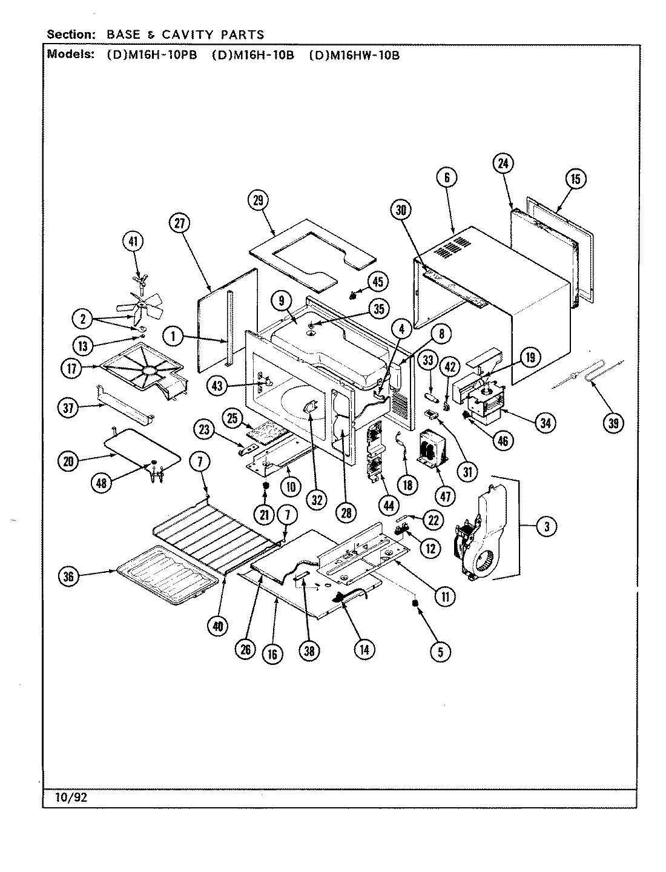 Plans Et Pieces Pour Maytag Rv Microwave Modele Dm16h 10b