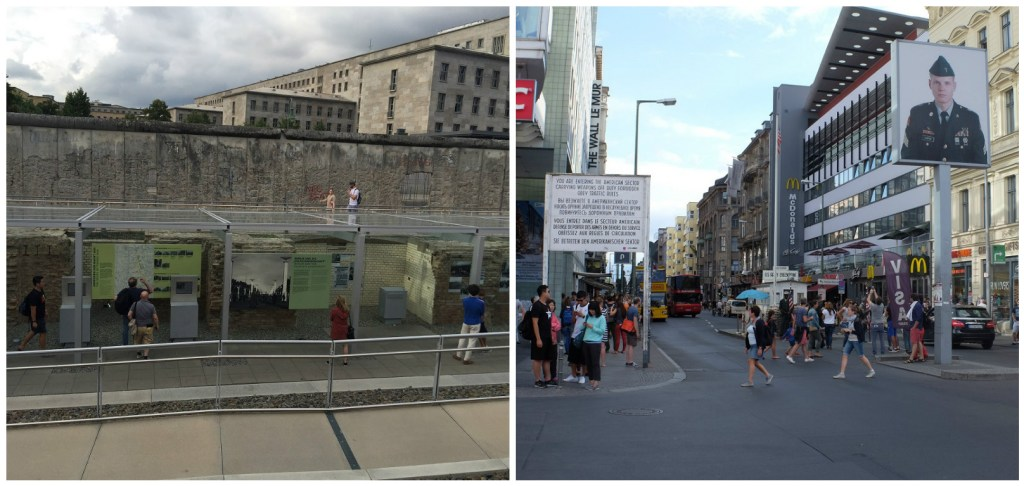 Left: Exterior exhibit of the Topologies of Terror Museum; Right: Checkpoint Charlie accompanied by KFC and McDonalds