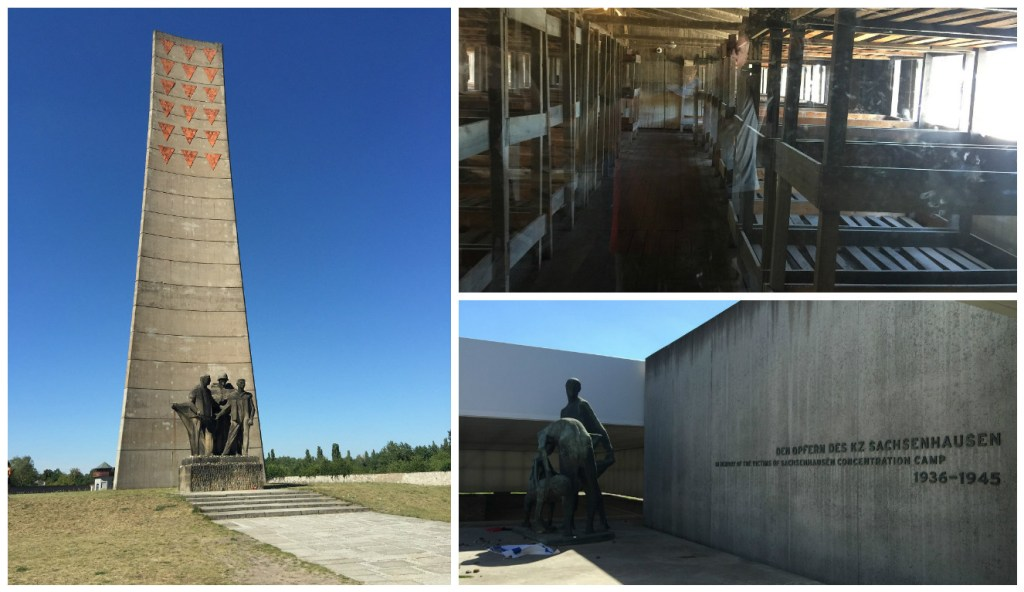 Left: Sachsenhausen Memorial; Top right: sleeping quarters; Bottom right: Commemoration for the Victims of the Concentration Camp