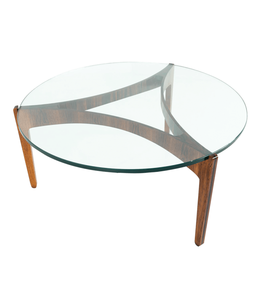 sven elekjaer mid century modern rosewood and glass round coffee table
