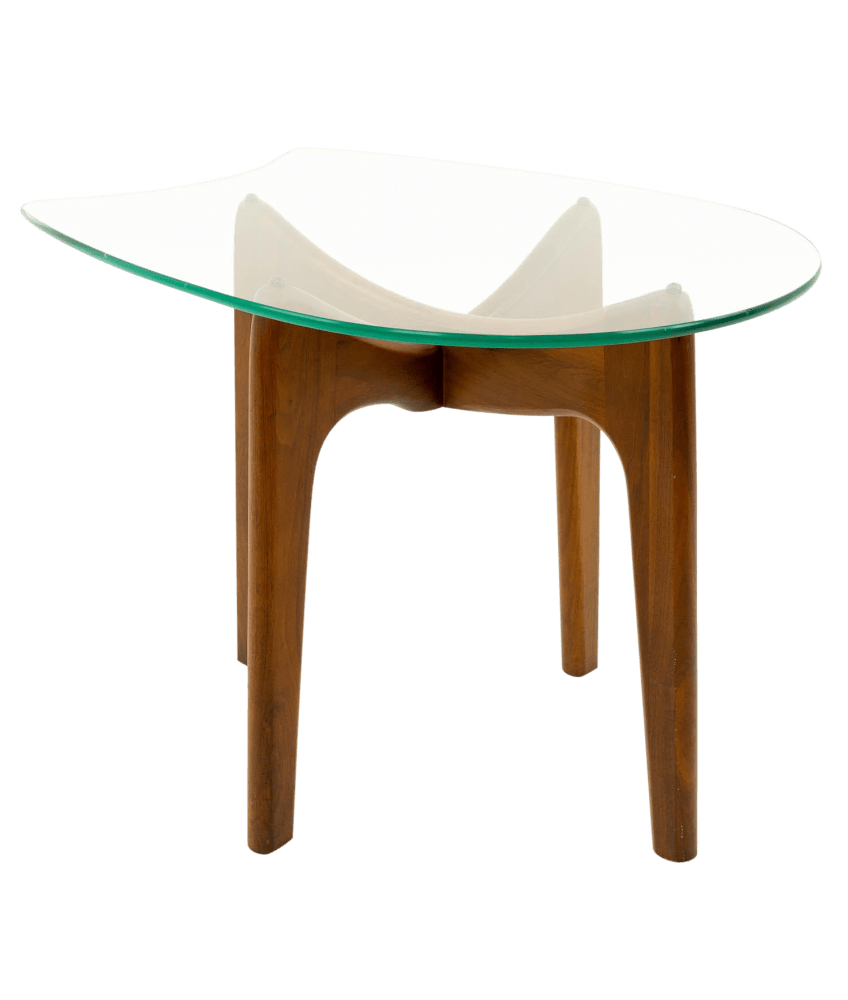 adrian pearsall sculpted walnut mid century modern side end table with stingray glass