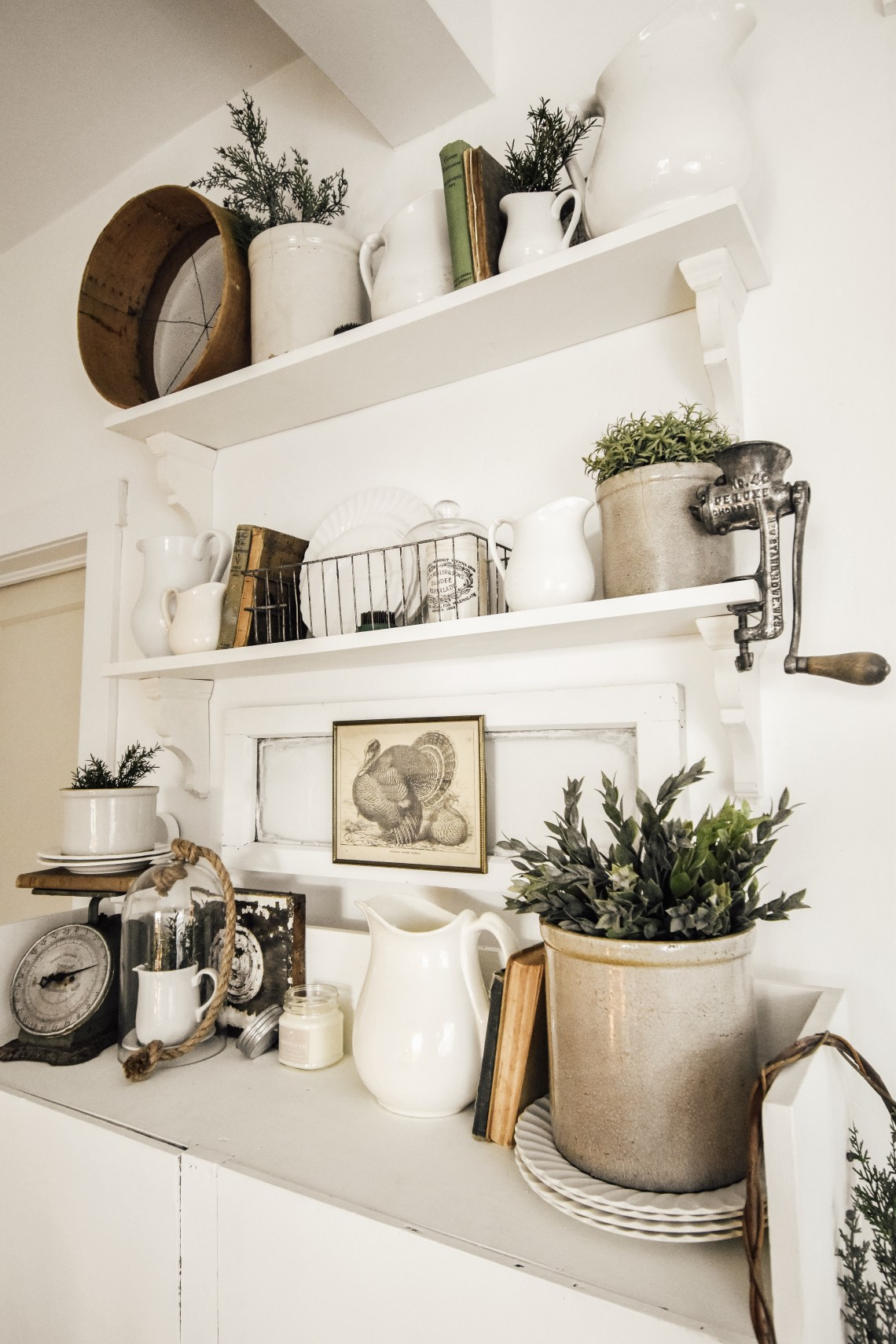 Holiday Decorated Open Shelving