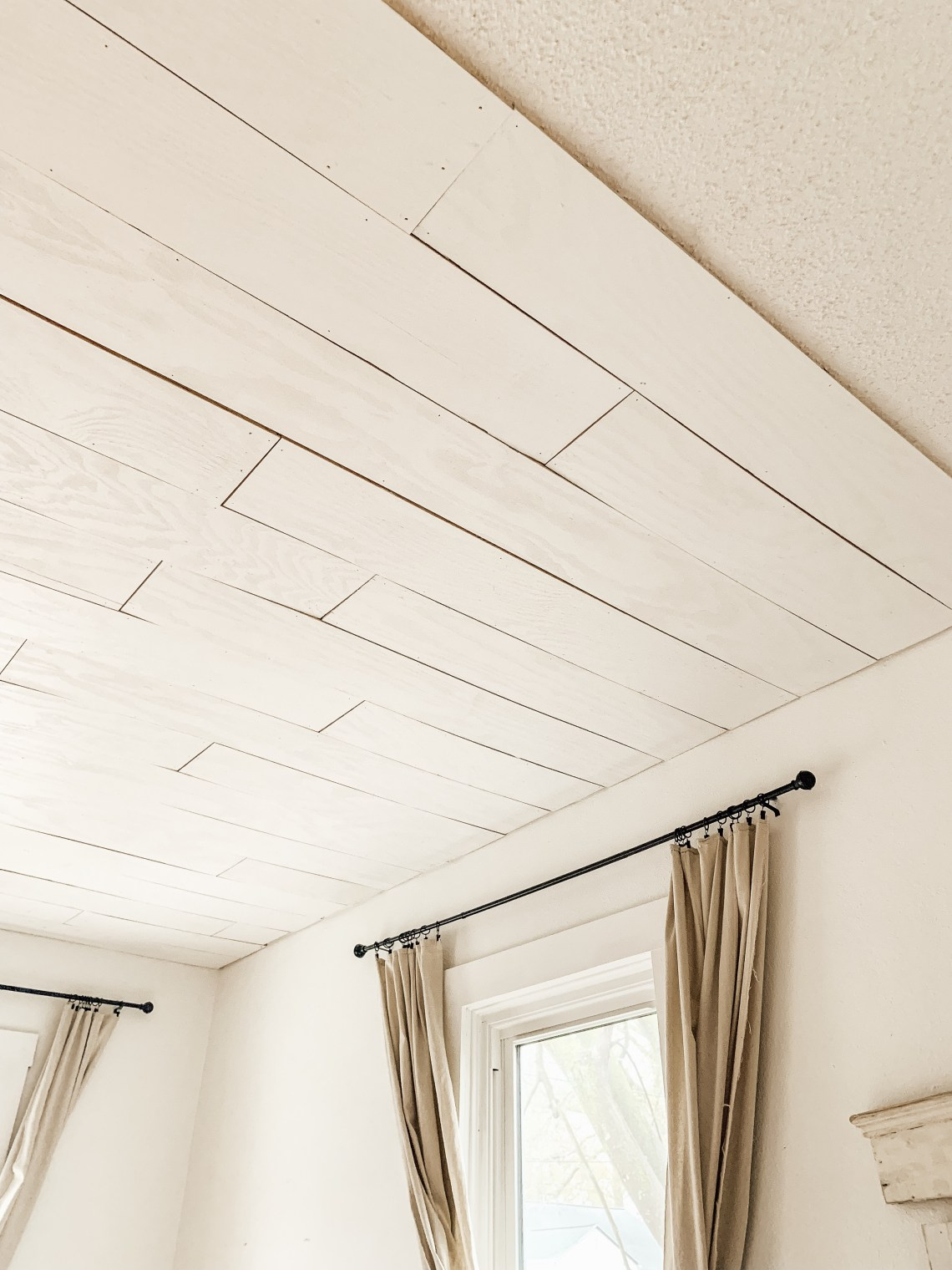 How to Plywood Plank Over Popcorn Ceiling