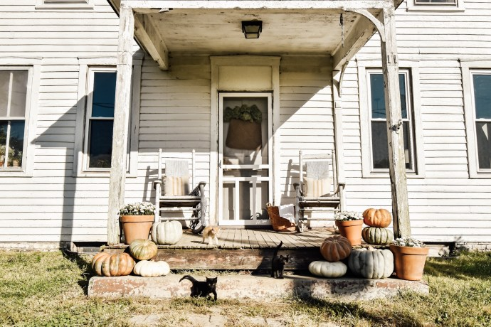 Fall Farmhouse Front Porch kittens!