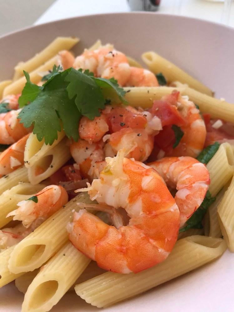 Recept räkpasta med vitlök och tomat
