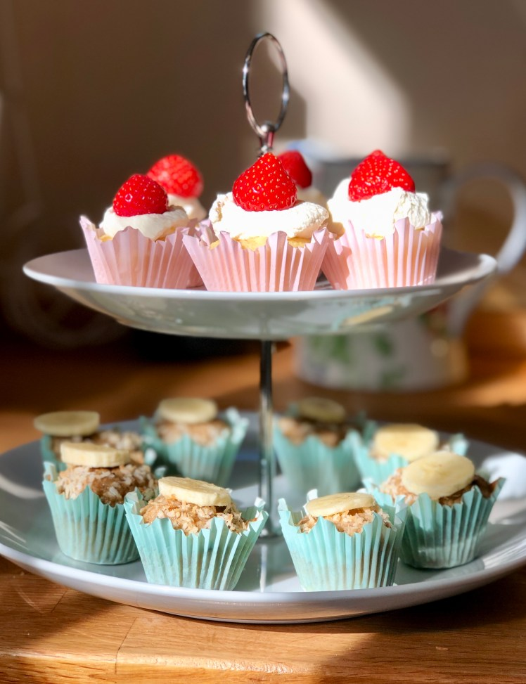 Bananmuffins kokos Afternoon Tea cupcakes minimuffins