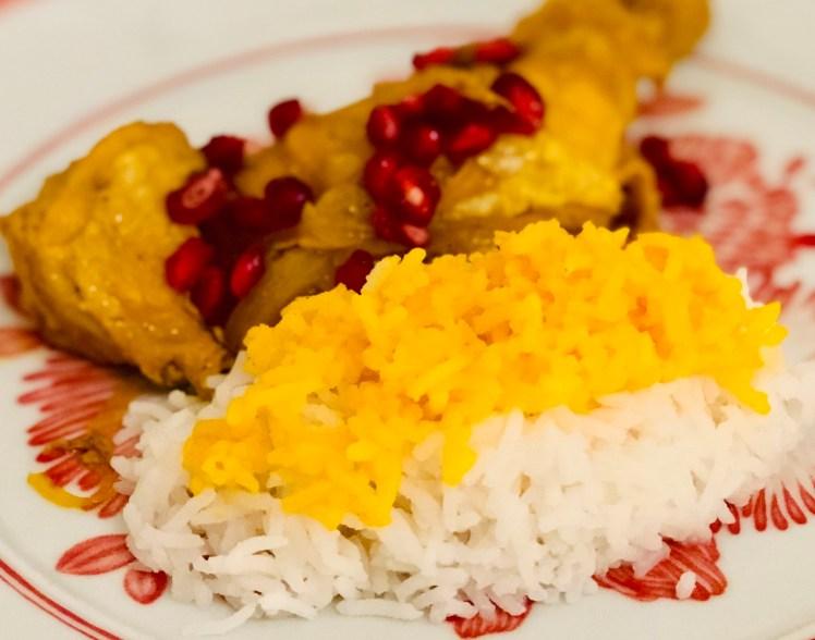 Persisk kycklinggryta med saffransdoftande basmatiris persisk kyckling gryta saffran granatäpple basmatiris ris saffransris