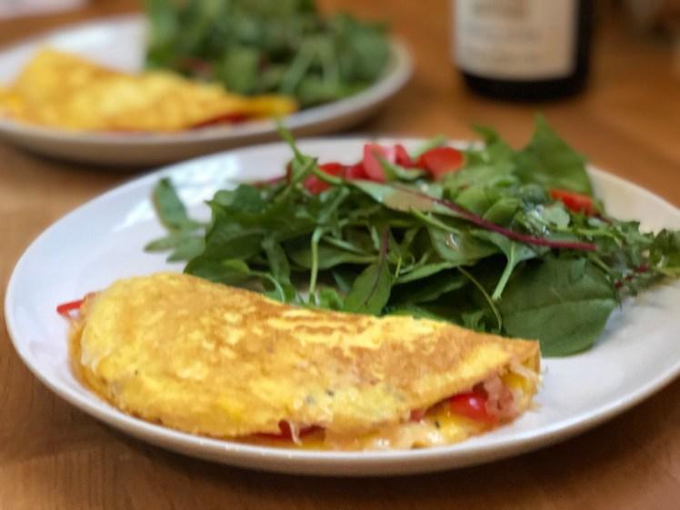 Recept omelett ost och skinka