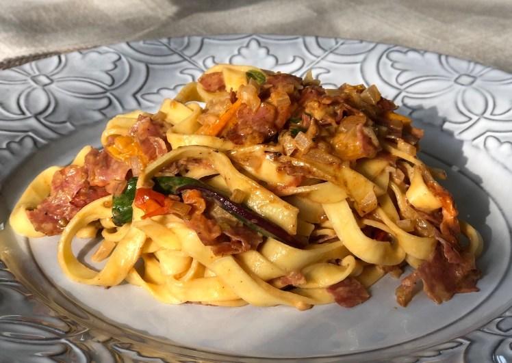 Pasta med tryffelsalami pastasås recept