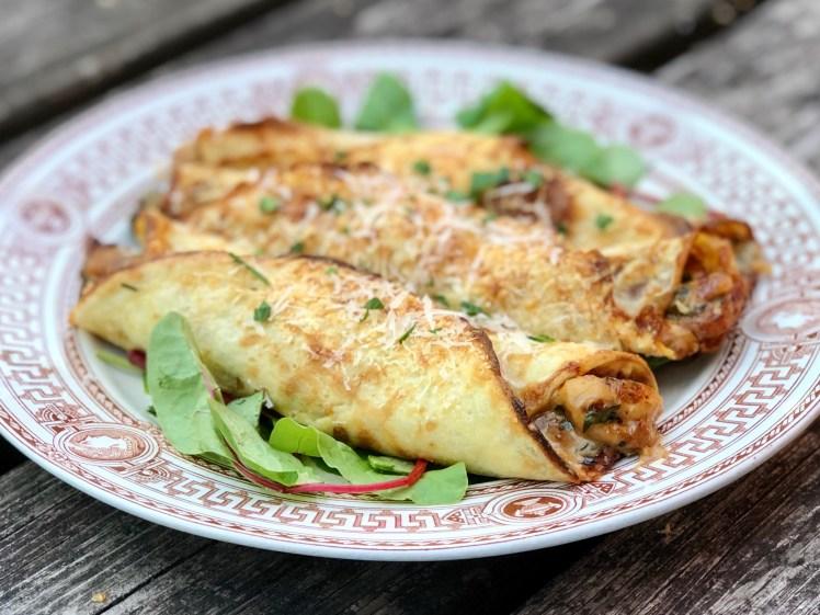 Recept crêpes fyllda med kyckling timjan parmesan pannkakor