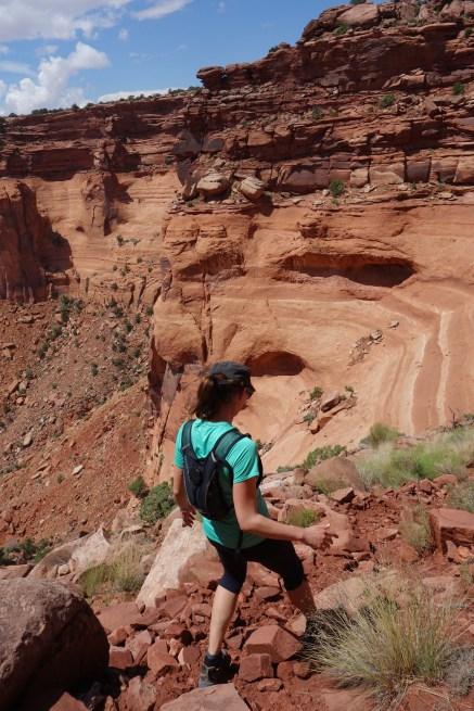 The steep walk down