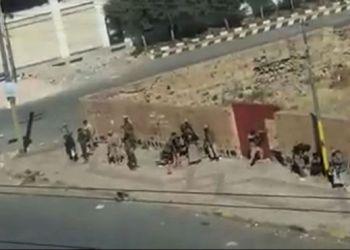 Grainy images showed Houthi rebels under fire from Mr Saleh's forces in Sanaa on Saturday