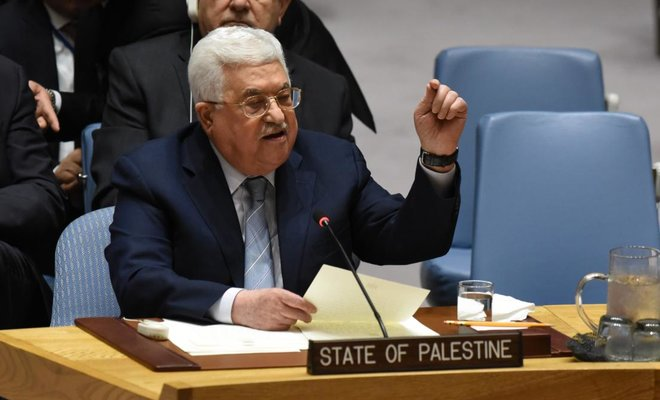 Above, Palestinian leader Mahmud Abbas speaks at the UN Security Council on Tuesday, February 20. Abbas called for the convening of an international conference by mid-2018 to pave the way for recognition of Palestinian statehood as part of a wider Middle East peace process. (AFP)