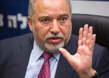 Defense Minister Avigdor Lieberman in a meeting with his party Feb 5. 2018./Emil Salman