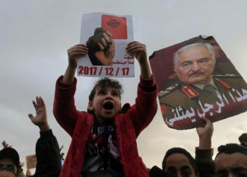 Supporters of Eastern Libyan military commander Khalifa Haftar take part in a rally in Benghazi, Libya. (Reuters/Esam Omran Al-Fetori/File Photo)