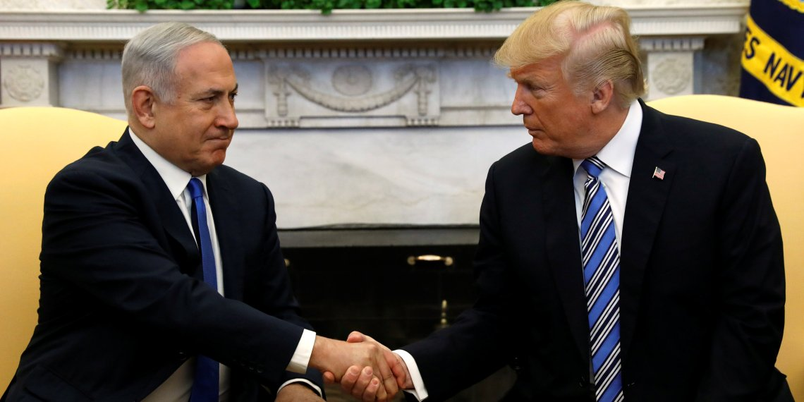 U.S. President Donald Trump meets with Israel Prime Minister Benjamin Netanyahu in the Oval Office of the White House in Washington, U.S., March 5, 2018. REUTERS/Kevin Lamarque