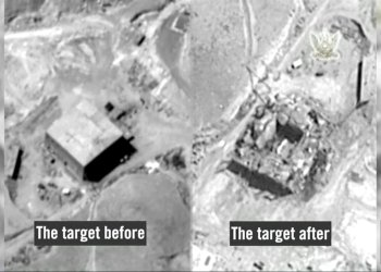 A still frame taken from video material released on March 21, 2018 shows a combination image of what the Israeli military describes is before and after an Israeli air strike on a suspected Syrian nuclear reactor site near Deir al-Zor on Sept 6, 2007. IDF/Handout via Reuters TV