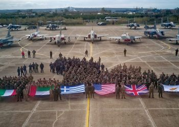 Israel is not represented in this photo of fighters and pilots participating in the multi-national Iniochos 2018 exercise in Greece/ Credit: Hellenic Air Force