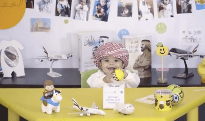 Mohammed Al-Hashemi, eight months old, is featured in the video uploaded on the official Instagram account of GCAA.(Screengrab via Instagram)