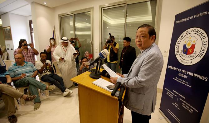 Philippine Ambassador Renato PO Villa speaks during a press conference at the Philippines embassy in Kuwait City on April 21, 2018. Villa has been ordered by the Kuwaiti government to leave the Gulf Arab country within a week. (AFP file photo)