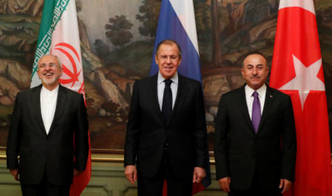 Foreign Ministers Mohammad Javad Zarif of Iran, Sergei Lavrov of Russia and Mevlut Cavusoglu of Turkey pose for a photo following their meeting in Moscow, Russia April 28, 2018.(Reuters)