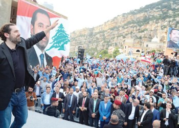 Lebanon's Prime Minister Saad Hariri waves during an election campaign in the northern town of Deniyeh, Lebanon, on Saturday. (Reuters)