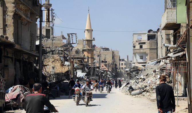Earlier in the month the US, France and Britain carried out strikes against Syrian regime military positions. (AFP/SANA)