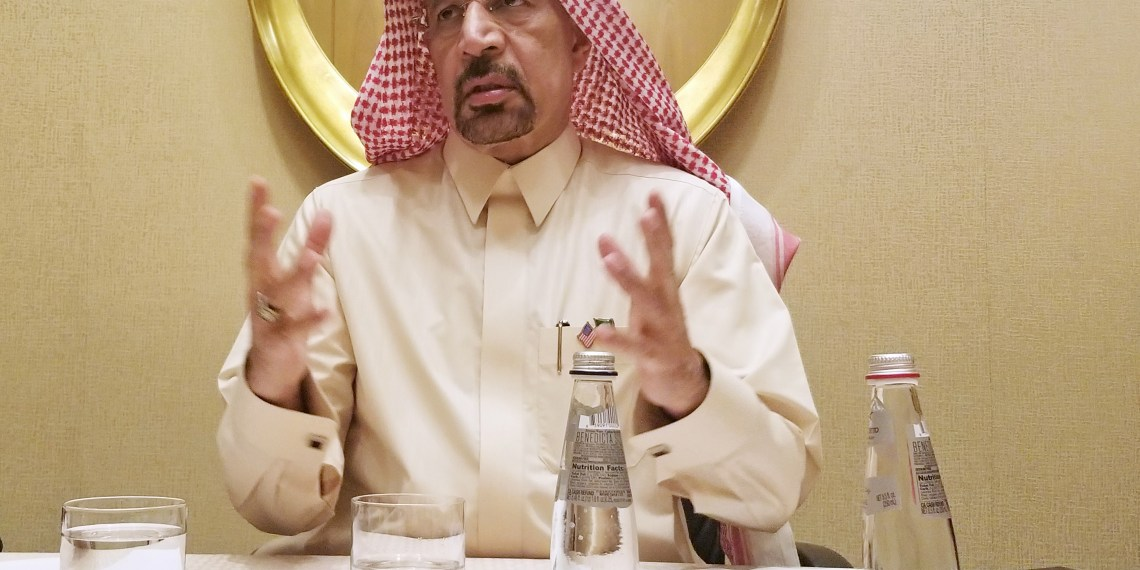 Saudi Arabian Energy Minister Khalid al-Falih speaks during an interview in Washington, DC, U.S. March 22, 2018. REUTERS/Valerie Volcovici