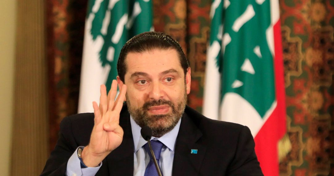 Lebanese Prime Minister Saad al-Hariri gestures during a conference to address the results of the Paris conference, in Beirut, Lebanon April 11, 2018. REUTERS/Jamal Saidi