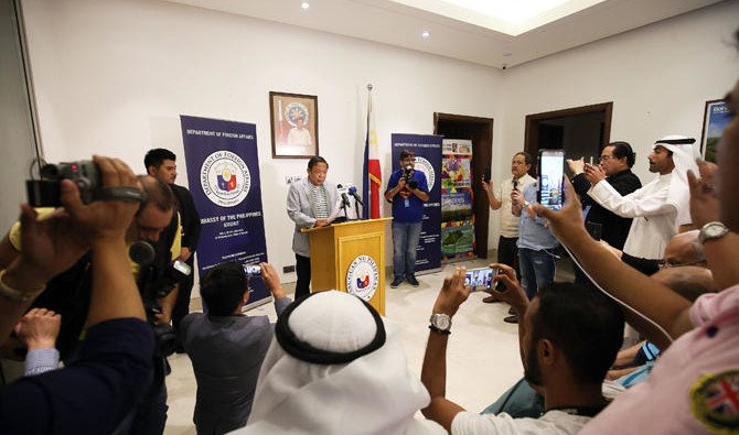 Ambassador Renato Villa speaks during a press conference at the Philippines Embassy in Kuwait City on April 21, 2018/ AFP Yasser /Al-Zayyat