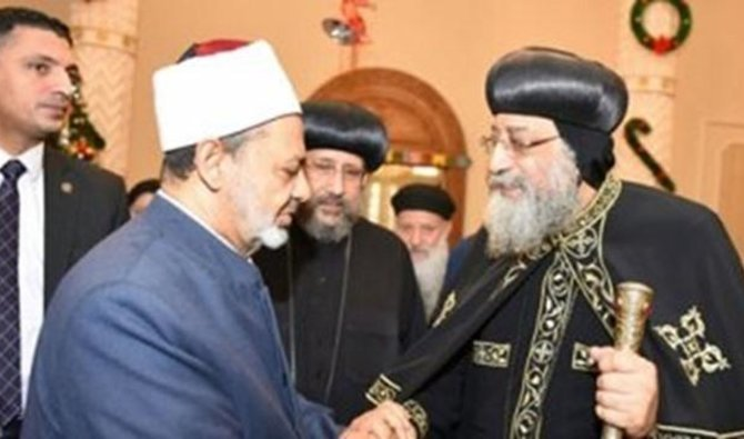 The grand Imam of Egypt's Al-Azhar offered greetings to coptic Pope Tawadros II on the occasion of Easter