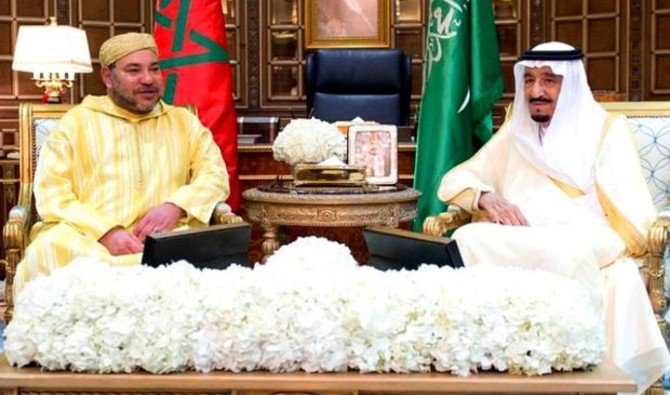 File Photo showing Saudi Arabia King Salman meets with King Mohammed VI of Morocco, Riyadh, Saudi Arabia, 2015. (AFP)
