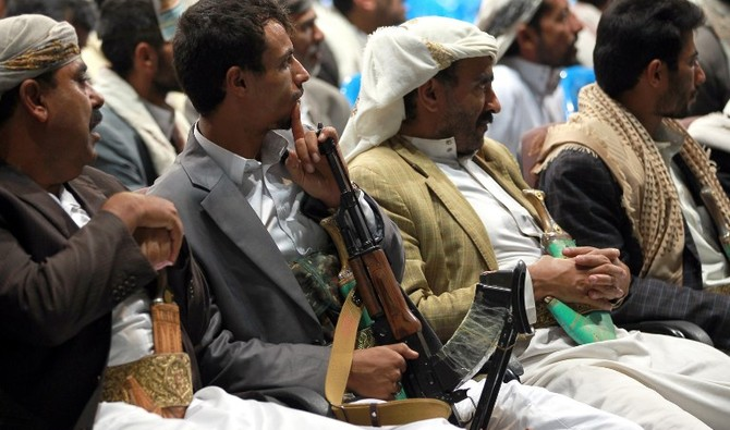 Yemeni tribesmen attend a tribal meeting in the capital Sanaa on August 14, 2014, to discuss the recent Al-Qaeda attacks on the Yemeni military in the province of Hadramawt and to demand the goverment for strengthening its efforts to fight militants. Al-Qaeda in the Arabian Peninsula (AQAP) is active across several parts of Yemen, taking advantage of a collapse of central authority during a 2011 uprising that ousted veteran president Ali Abdullah Saleh. AFP PHOTO / MOHAMMED HUWAIS / AFP PHOTO / MOHAMMED HUWAIS
