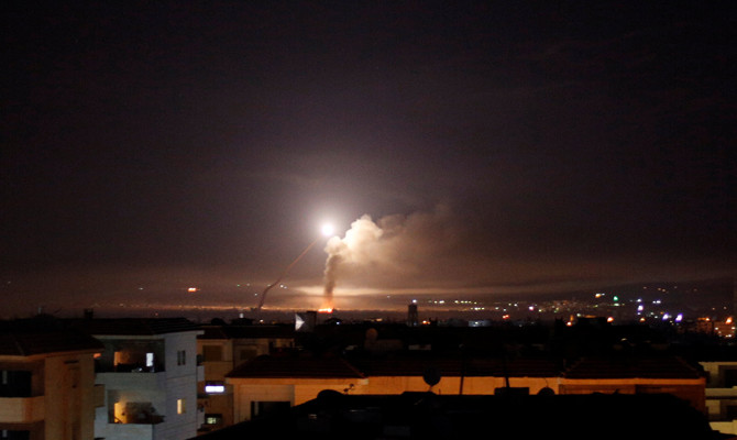 Missile fire is seen from Damascus, Syria May 10, 2018. (REUTERS/Omar Sanadiki)