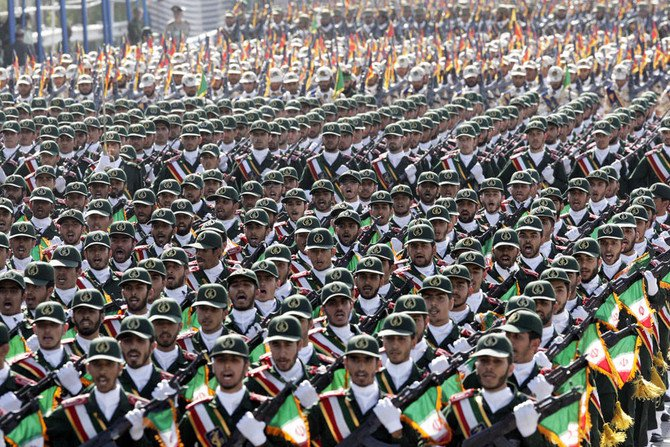 Iran's Revolutionary Guard troops march during a military parade in front of the mausoleum of the late revolutionary leader Ayatollah Khomeini, just outside Tehran. (AP Photo/Vahid Salemi, File)