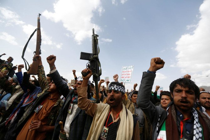 Houthi supporters shout slogans as they demonstrate against the US embassy move to Jerusalem, in Sanaa, Yemen May 15, 2018. (Reuters)