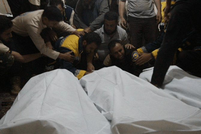 Five Syrian rescue workers were killed in an attack by masked assailants Saturday. (Photo credit: The White Helmets' Twitter page)