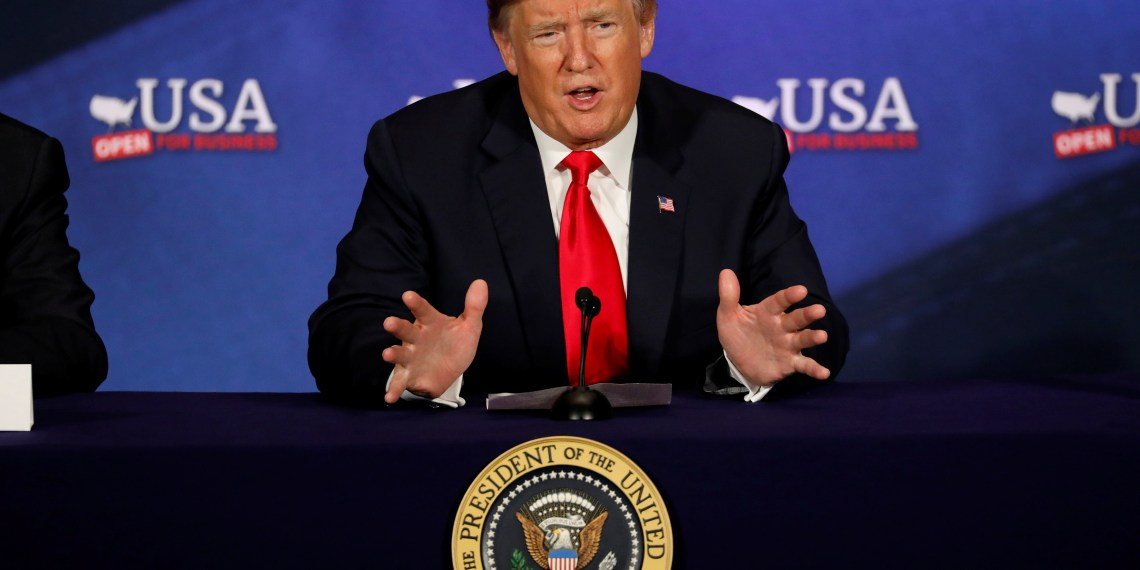 FILE PHOTO: President Donald Trump speaks during a roundtable discussion on tax reform at the Cleveland Public Auditorium in Cleveland, Ohio, U.S., May 5, 2018. REUTERS/Aaron P. Bernstein