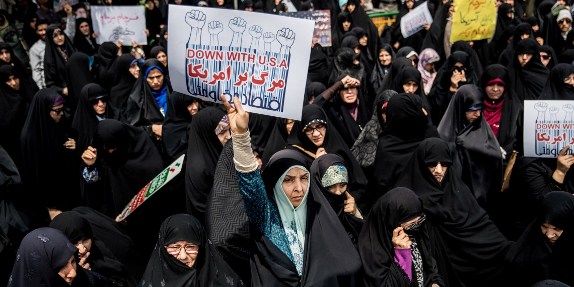 Iranian women gather during a protest against U.S. President Donald Trump's decision to walk out of a 2015 nuclear deal, in Tehran, Iran, May 11, 2018. REUTERS/Tasnim News Agency