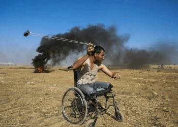 The Palestinian protester Fadi Abu Salah who lost his legs from Israeli forces was killed in Gaza by an Israeli snipper during the Great Return marches. May 2018, social media