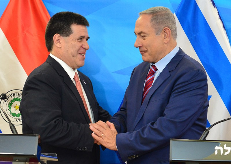 PM Netanyahu with Paraguayan President Cartes in Jerusalem
