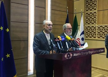 Iran's nuclear chief Ali Akbar Salehi speaks during a joint press conference with European Commissioner for Energy and Climate, Miguel Arias Canete, in Tehran, Iran, May 19, 2018. (Reuters)