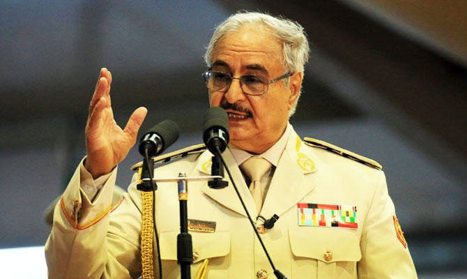 In this file photo taken on May 7, 2018 Libyan Strongman Khalifa Haftar attends a military parade in the eastern city of Benghazi./ (AFP)