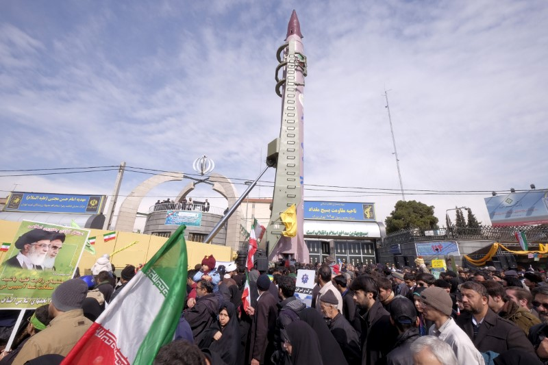 FILE PHOTO: Iranian-made Emad missile is displayed during a ceremony marking the 37th anniversary of the Islamic Revolution, in Tehran February 11, 2016. REUTERS/Raheb Homavandi/File Photo