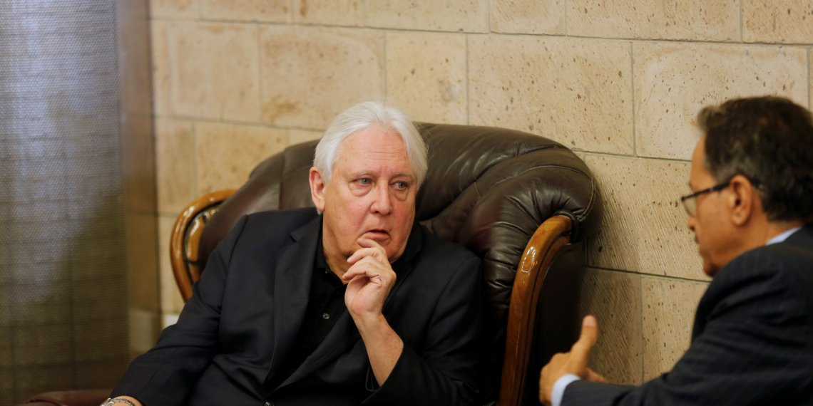 UN envoy to Yemen Martin Griffiths (L) listens to the undersecretary of Houthi-led government's foreign ministry, Faisal Abu-Rass upon his departure of Sanaa, Yemen June 19, 2018. REUTERS/Khaled Abdullah